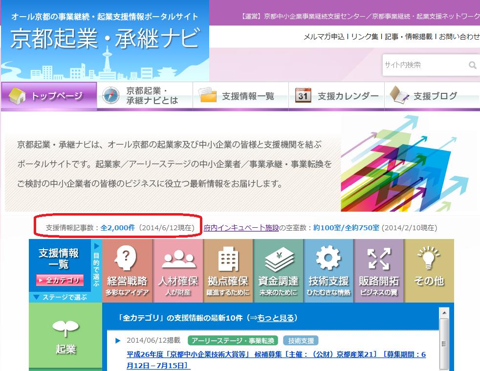 京都起業・承継ナビ  2000件記念